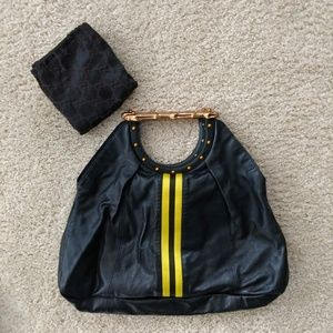 Tom Ford Gucci Bamboo Yellow Stripe Tote Bag